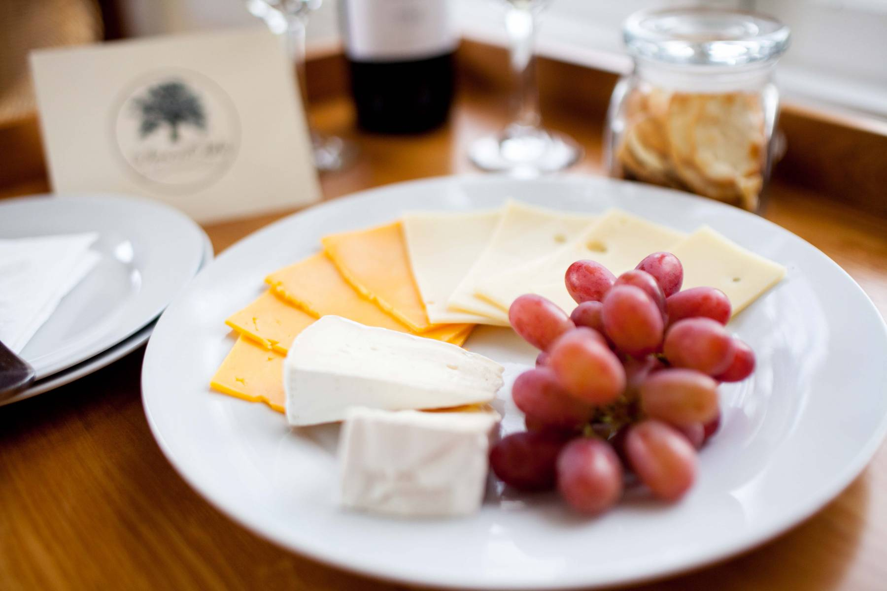 Wine and cheese plate at Seven Oaks