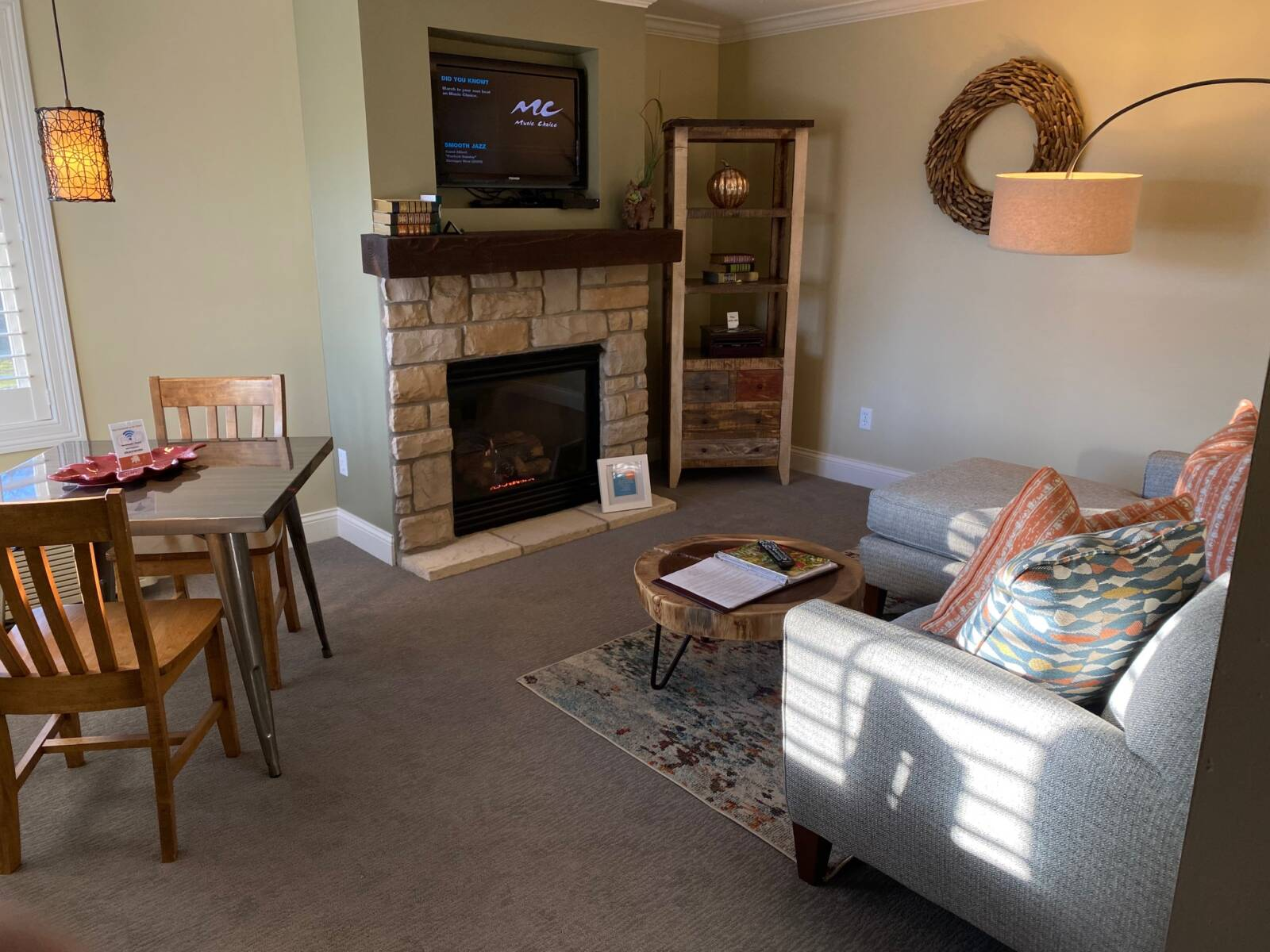 St Albans living room with fireplace